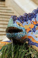 The Trencadis Lizard statue by Antoni Gaudi at Park Guell in Barcelona, Spain.