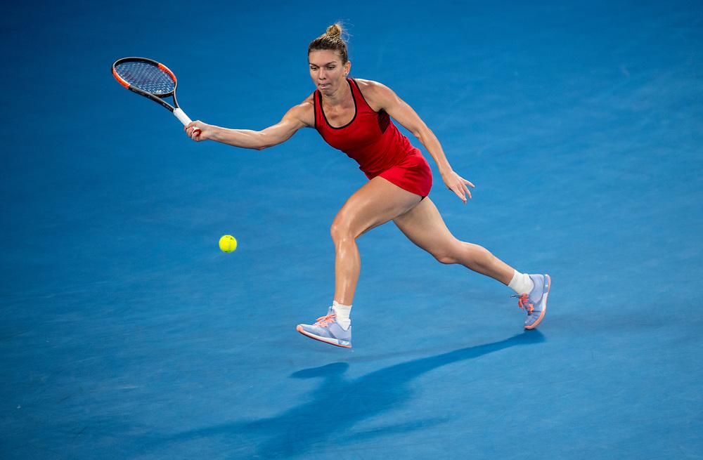 Simona Halep of Romania during the women's singles championship match during the 2018 Australian Open on day 13 in Melbourne, Australia on Saturday night January 27, 2018.<br /> (Ben Solomon/Tennis Australia)