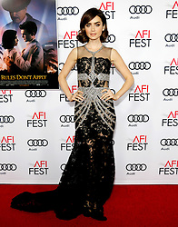 Lily Collins at the AFI FEST 2016 Opening Night Premiere of 'Rules Don't Apply' held at the TCL Chinese Theatre in Hollywood, USA on November 10, 2016.