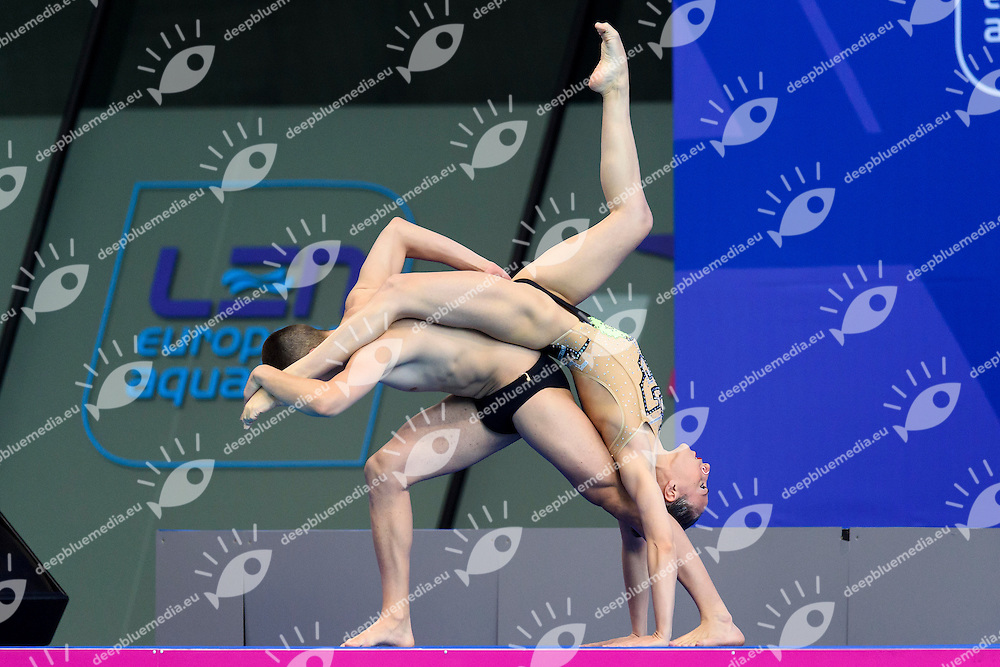 Manila FLAMINI Giorgio MINISINI ITA Silver Medal <br /> Mixed Duet Final <br /> London, Queen Elizabeth II Olympic Park Pool <br /> LEN 2016 European Aquatics Elite Championships <br /> Synchronized Swimming <br /> Day 05 13-05-2016<br /> Photo Andrea Staccioli/Deepbluemedia/Insidefoto
