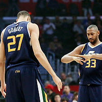 25 March 2016: Utah Jazz center Boris Diaw (33) is seen next to Utah Jazz center Rudy Gobert (27) during the Los Angeles Clippers 108-95 victory over the Utah Jazz, at the Staples Center, Los Angeles, California, USA.