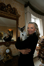 UK ENGLAND LONDON 1FEB05 - Her Royal Highness The Princess Michael of Kent and her Siamese cat Percy pose for a portrait in her private dining room at the Private Apartments at Kensington Palace, central London. Before marrying Prince Michael in 1978, she was Baroness Marie-Christine von Reibnitz, daughter of Baron von Reibnitz and the former Countess Marianne Szapary of Vienna. The Princess has written two historical books and now lectures internationally at universities, museums and other organisations such as Sotheby's. ..jre/Photo by Jiri Rezac..© Jiri Rezac 2005..Contact: +44 (0) 7050 110 417.Mobile:  +44 (0) 7801 337 683.Office:  +44 (0) 20 8968 9635..Email:   jiri@jirirezac.com.Web:    www.jirirezac.com..© All images Jiri Rezac 2005 - All rights reserved.