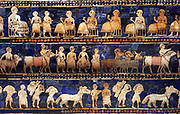 The Peace frieze from the Standard of Ur.  Sumerian artefact excavated from the Royal Cemetery in Ur (located in modern-day Iraq). The Standard of Ur dates from around 2600 - 2400 BCE, and was excavated by British archaeologist Sir Leonard Woolley in the