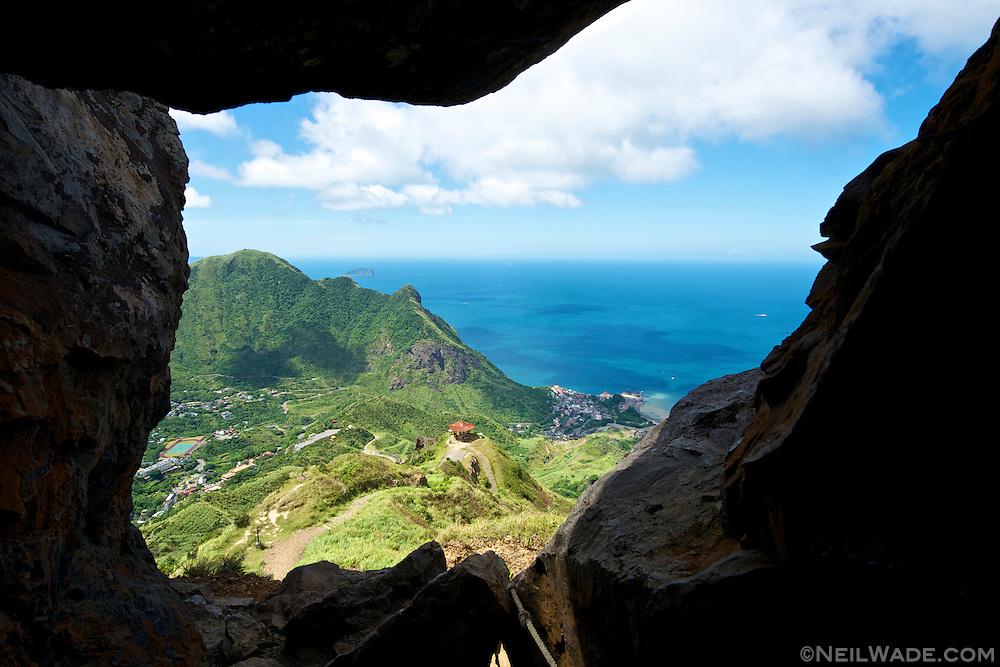 Looking down on Jinguashi from inside Teapot Mountain.