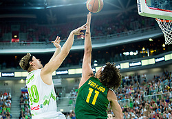Miha Zupan of Slovenia vs Anderson Varejao of Brasil during friendly basketball match between National Teams of Slovenia and Brasil at Day 2 of Telemach Tournament on August 22, 2014 in Arena Stozice, Ljubljana, Slovenia. Photo by Vid Ponikvar / Sportida
