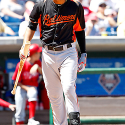 March 25, 2012; Clearwater, FL, USA; Baltimore Orioles shortstop Manny Machado reacts after striking out during the bottom of the fourth inning of a spring training game against the Philadelphia Phillies at Bright House Networks Field. Mandatory Credit: Derick E. Hingle-US PRESSWIRE