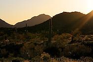 Beam of sunlight over hills near the San Tan Mountains
