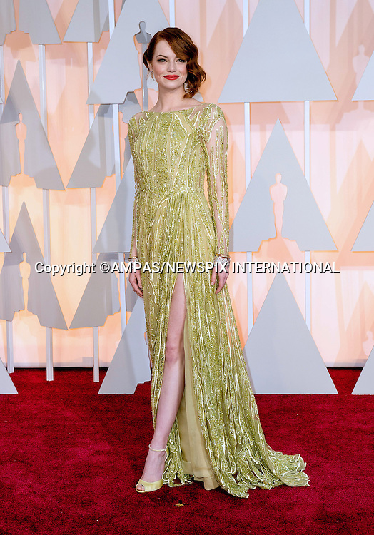 22.02.2015; Hollywood, California: 87TH OSCARS - EMMA STONE<br /> Celebrity arrivals at the Annual Academy Awards, Dolby Theatre, Hollywood.<br /> Mandatory Photo Credit: NEWSPIX INTERNATIONAL<br /> <br />               **ALL FEES PAYABLE TO: &quot;NEWSPIX INTERNATIONAL&quot;**<br /> <br /> PHOTO CREDIT MANDATORY!!: NEWSPIX INTERNATIONAL(Failure to credit will incur a surcharge of 100% of reproduction fees)<br /> <br /> IMMEDIATE CONFIRMATION OF USAGE REQUIRED:<br /> Newspix International, 31 Chinnery Hill, Bishop's Stortford, ENGLAND CM23 3PS<br /> Tel:+441279 324672  ; Fax: +441279656877<br /> Mobile:  0777568 1153<br /> e-mail: info@newspixinternational.co.uk