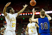 Gary Breaux (23) of Dallas Triple A Academy goes for a rebound against Mumford during the UIL 1A division 1 state championship game at the Frank Erwin Center in Austin on Friday, March 8, 2013. (Cooper Neill/The Dallas Morning News)