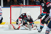 KELOWNA, CANADA - SEPTEMBER 5: Brodan Salmond #31 of the Kelowna Rockets makes a save against the Kamloops Blazers on September 5, 2017 at Prospera Place in Kelowna, British Columbia, Canada.  (Photo by Marissa Baecker/Shoot the Breeze)  *** Local Caption ***