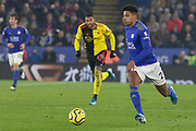 James Justin (2) on the ball during the Premier League match between Leicester City and Watford at the King Power Stadium, Leicester, England on 4 December 2019.