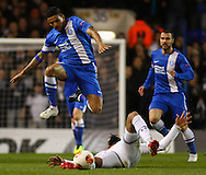 Matheus Nascimento of Dnipro Dnipropetrovsk evades the challenge of Sandro of Tottenham Hotspur (right) during the UEFA Europa League match at White Hart Lane, London<br /> Picture by David Horn/Focus Images Ltd +44 7545 970036<br /> 27/02/2014