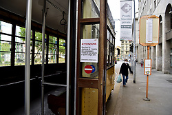 Milan, People on the Naviglio Grande, Darsena and Piazza 24 Maggio while they are preparing phase 2 of the coronavirus quarantine, in the photo people with masks inside a Tram public transport, ATM