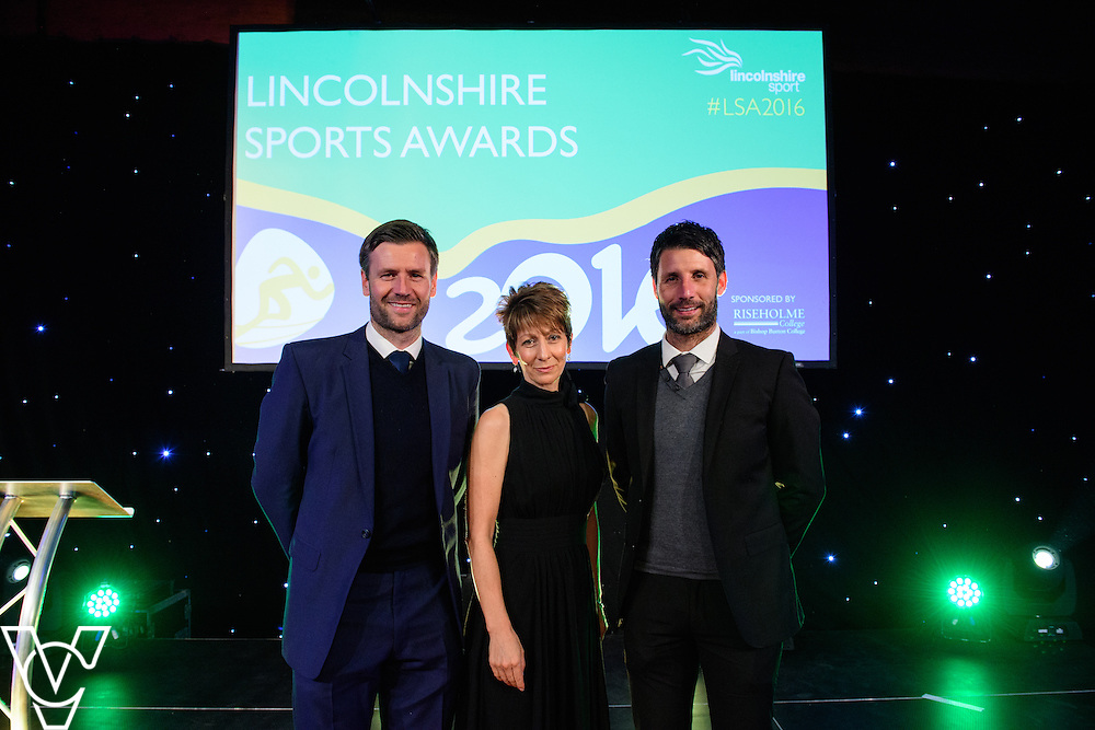 Lincolnshire Sport Awards 2016:<br /> <br /> From left, Lincoln City's assistant manager Nicky Cowley, Bishop Grosseteste University's deputy vice-chancellor Jayne Mitchell and Lincoln City manager Danny Cowley<br /> <br /> The 2016 Lincolnshire Sport Awards, organised by Lincolnshire Sport, and held at the Showground, Lincoln.<br /> <br /> Picture: Chris Vaughan Photography for Lincolnshire Sport<br /> Date: November 3, 2016