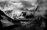 Yosemite Valley floor as a storm moves in. Taken from Inspiration Point.