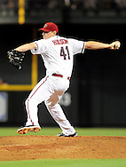 Sep. 20 2011; Phoenix, AZ, USA; Arizona Diamondbacks pitcher .Daniel Hudson (41) delivers a pitch during the third inning against the Pittsburgh Pirates at Chase Field. Mandatory Credit: Jennifer Stewart-US PRESSWIRE