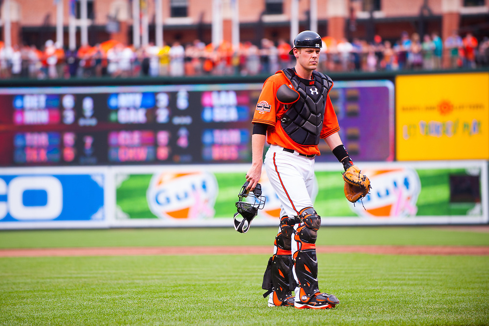 BALTIMORE, MD - MAY 26: Matt Wieters #32 of the Baltimore Orioles looks on during the game against the Kansas City Royals at Oriole Park at Camden Yards on May 26, 2012 in Baltimore, Maryland. (Photo by Rob Tringali) *** Local Caption *** Matt Wieters