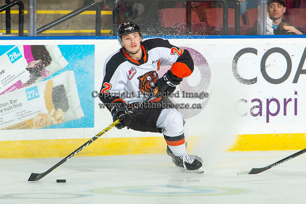 KELOWNA, BC - NOVEMBER 8:  Tyler Preziuso #22 of the Medicine Hat Tigers looks for the pass as he enters the offensive zone against the Kelowna Rockets at Prospera Place on November 8, 2019 in Kelowna, Canada. (Photo by Marissa Baecker/Shoot the Breeze)