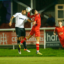 Dover's midfielder Jai Reason wins the ball in the air from Hartlepool's midfielder Ryan Donaldson during the National League match between Dover Athletic FC and Hartlepool United FC at Crabble Stadium, Kent on 24 November 2018. Photo by Matt Bristow.