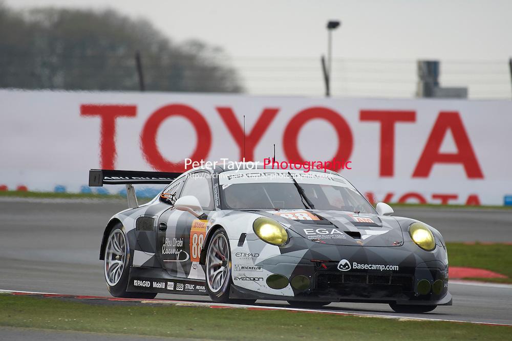 Khaled Al Qubaisi (ARE) / David Heinemeier Hansson (DNK) / Patrick Long (USA) #88 Abu Dhabi Proton Racing Porsche 911 RSR,  at Silverstone, Towcester, Northamptonshire, United Kingdom. April 15 2016. World Copyright Peter Taylor.