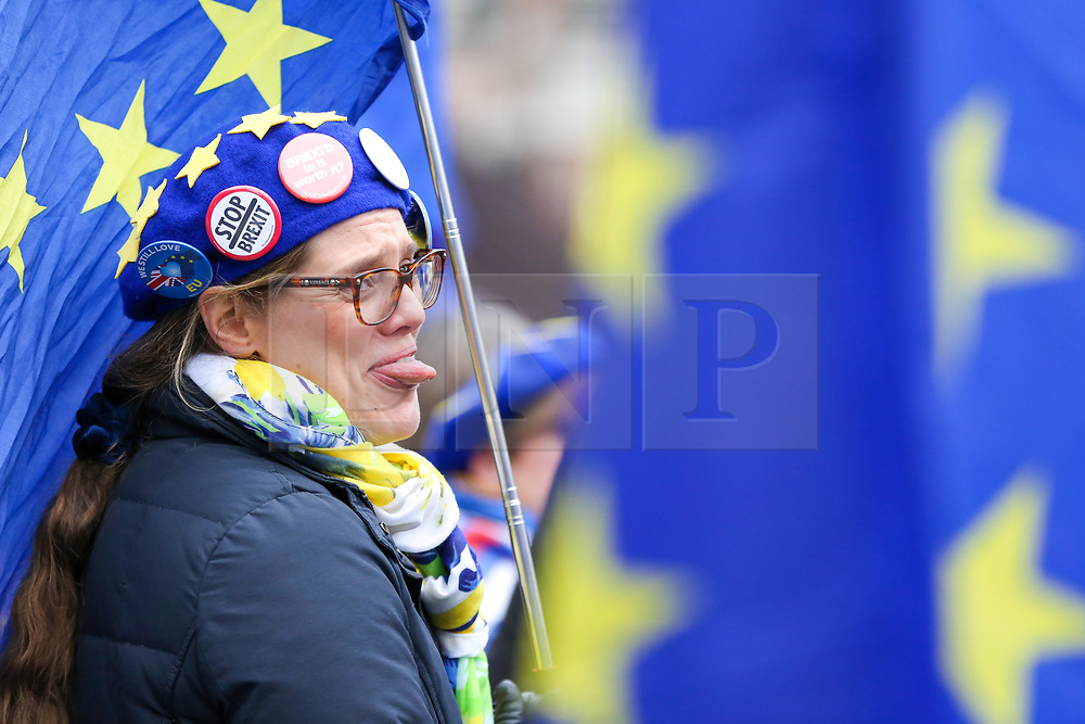 © Licensed to London News Pictures. 30/01/2020. London, UK. A Pro-European supporter outside Houses of Parliament on the day before Brexit Day.  The UK will leave the European Union at 11pm on the 31 January 2020. Thereafter will be a transition period until the end of 2020, while the UK and EU negotiate additional arrangements. Photo credit: Dinendra Haria/LNP