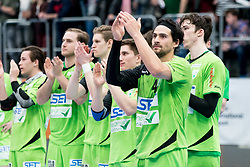 11.03.2017, Halle Hollgasse, Wien, AUT, HLA, SG INSIGNIS Handball WESTWIEN vs HC Fivers WAT Margareten, Oberes Playoff, 5. Runde, im Bild Felix Fuchs (SG INSIGNIS Handball WESTWIEN), Philipp Rabenseifer (SG INSIGNIS Handball WESTWIEN), Sebastian Frimmel (SG INSIGNIS Handball WESTWIEN), Jakob Jochmann (SG INSIGNIS Handball WESTWIEN), Erwin Feuchtmann Perez (SG INSIGNIS Handball WESTWIEN), Philipp Seitz (SG INSIGNIS Handball WESTWIEN) // during Handball League Austria, 5 th round match between HC Fivers WAT Margareten and SG INSIGNIS Handball WESTWIEN at the Halle Hollgasse, Vienna, Austria on 2017/03/11, EXPA Pictures © 2017, PhotoCredit: EXPA/ Sebastian Pucher