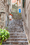 narrow lanes and steep stairs in Manarola, Cinque Terre, Liguria, Italy
