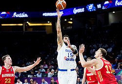 Georgios Printezis of Greece vs Timofey Mozgov of Russia during basketball match between National Teams of Greece and Russia at Day 14 in Round of 16 of the FIBA EuroBasket 2017 at Sinan Erdem Dome in Istanbul, Turkey on September 13, 2017. Photo by Vid Ponikvar / Sportida