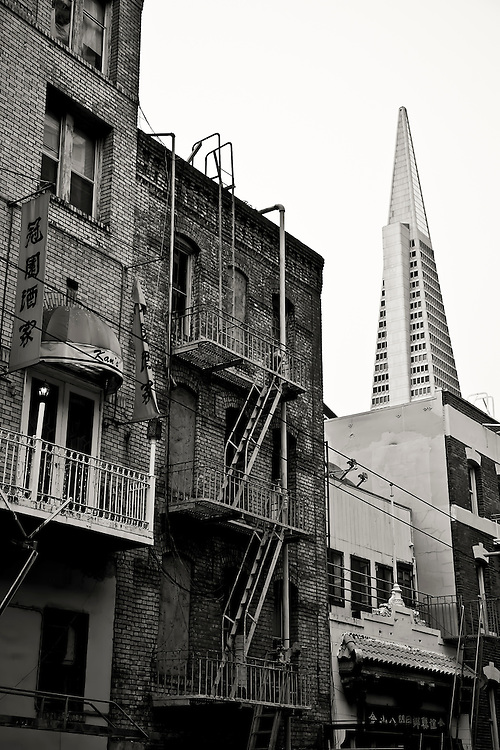 View of Transamerica Building from heart of Chinatown in Francisco, CA.  Copyright 2008 Reid McNally.