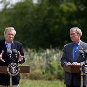 Pres. Bush and NATO Secretary-General Jaap de Hoop Scheffer hold a joint news conference on Pres. Bush's ranch Monday, May 21, 2007.<br /> <br /> Photo by Khue Bui