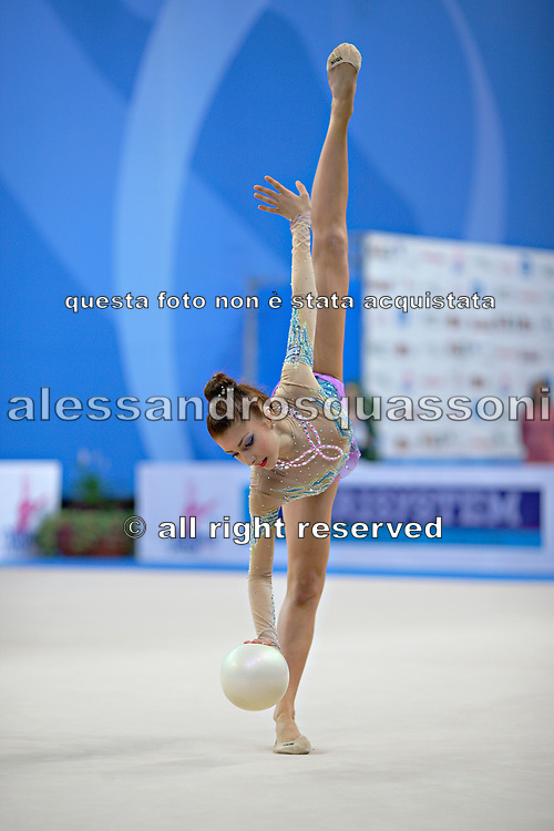 Filiou Varvara during qualifying at ball in Pesaro World Cup 26 April 2013. Varvara, born on 29 December 1994 in Maurosi,Greece. She is the most famous and awarded Greek athlete of this sport. Varvara is an 8 time Greek National All-around Champion.