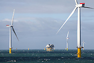 18/03/2014. Gwnt y Mor Wind Farm, North Wales, UK. A view of a substation on the Gwynt y Mor Offshore Wind Farm. Photo credit : Rob Arnold
