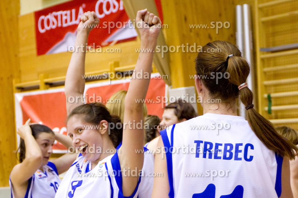 Eva Komplet of Slovenia celebrates after the  Eurobasket Women - Div. B 2013 Qualifications Game between National team of Slovenia and Sweden in 4th Round of Group A, on June 5, 2011 in  Arena Vitranc, Kranjska Gora, Slovenia. Slovenia defeated Sweden 70-63. (Photo By Vid Ponikvar / Sportida.com)