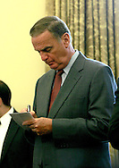 Jim Jones, National Security Advisor, takes notes during the meeting  between President Barack Obama and  Egyptian President Hosni Mubarak in the Oval Office on August 18, 2009.  photo by Dennis Brack