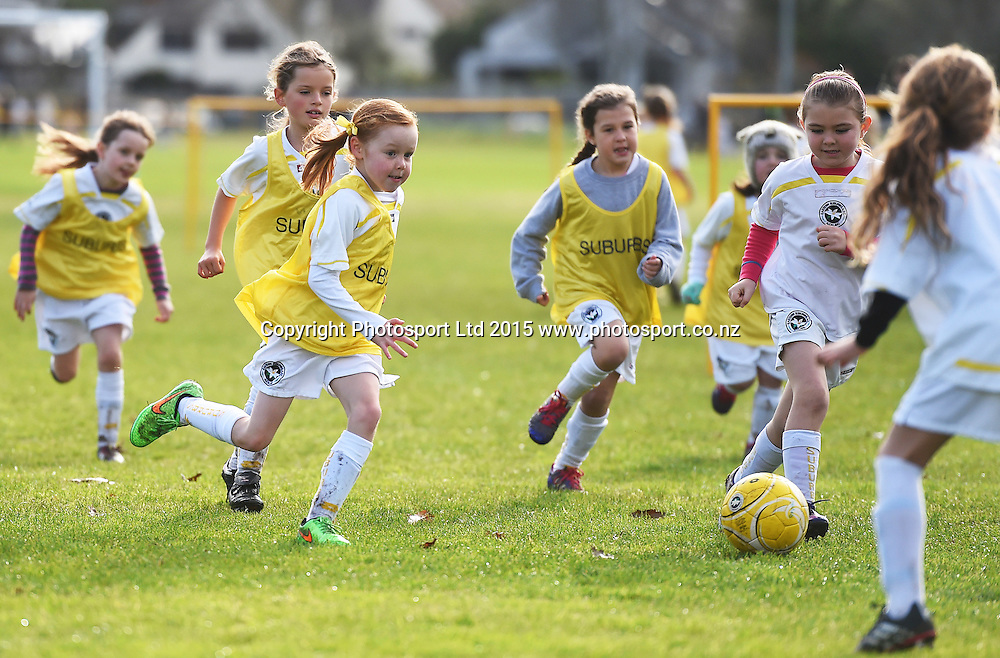 Junior Girls Soccer / Football. Eastern Suburbs 7th grade Crystals, Madills Farm, Auckland. New Zealand. Saturday 27 June 2015. Photo: Andrew Cornaga/www.photosport.co.nz