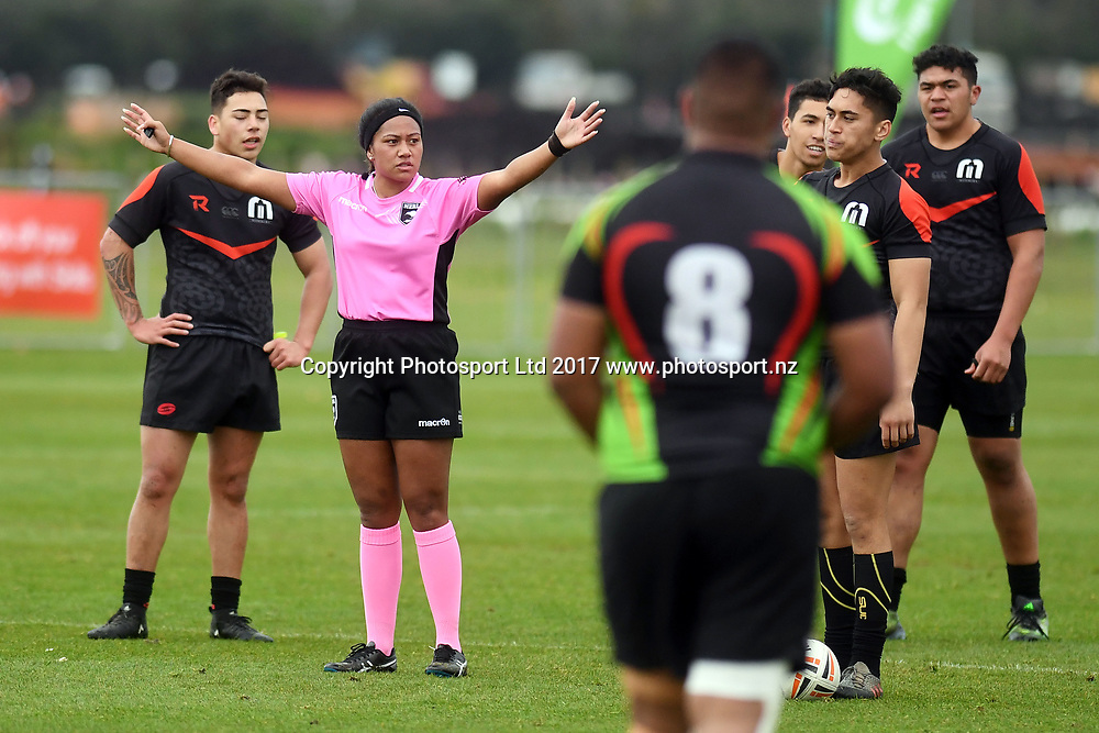 Referee, Manukura v Aorere College, NZRL National Secondary Schools Rugby League Championships, Day 3. Bruce Pulman Park, Auckland. 6 September 2017. Copyright Image: Andrew Cornaga / www.photosport.nz