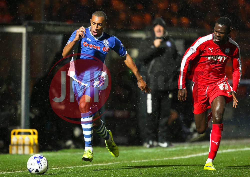 Rhys Bennett of Rochdale attacks  - Mandatory byline: Matt McNulty/JMP - 07966 386802 - 06/10/2015 - FOOTBALL - Spotland Stadium - Rochdale, England - Rochdale v Chesterfield - Johnstones Paint Trophy