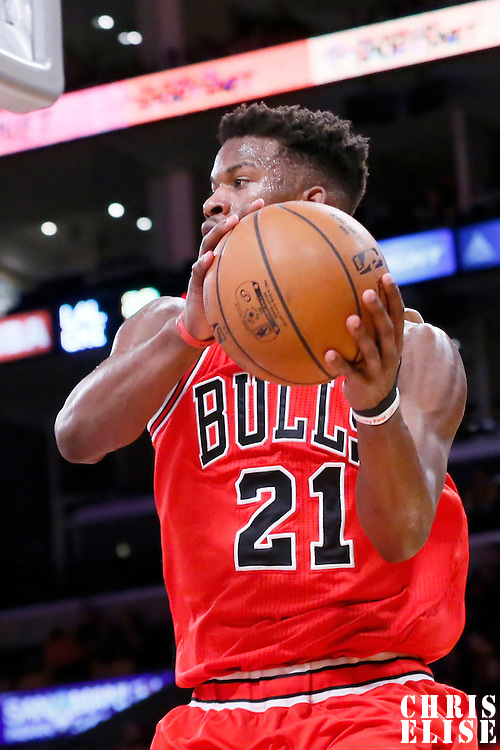29 January 2015: Chicago Bulls guard Jimmy Butler (21) looks to pass the ball during the Los Angeles Lakers 123-118 2OT victory over the Chicago Bulls, at the Staples Center, Los Angeles, California, USA.