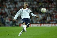 Photo: Richard Lane.<br />England v Brazil. International Friendly. 01/06/2007. <br />England's David Beckham strikes the free kickl to set up John Terry's goal.