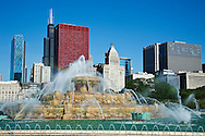 Backing Buckingham Fountain is a representative sample of Chicago's many architectural styles.  The six tallest buildings are (from left to right) the post-modern 311 Wacker Drive, international style Willis (Sears) Tower and CNA Center, the neo-classical Metropolitan Tower, and more international style with the Chase Tower and the Mid-Continental Plaza.