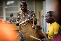 Gideon Alorwoyie, professor of music, principal dancer/choreographer and Director of the UNT African Percussion Ensemble, during a rehearsal for the annual African Cultural Festival on the University of North Texas campus.
