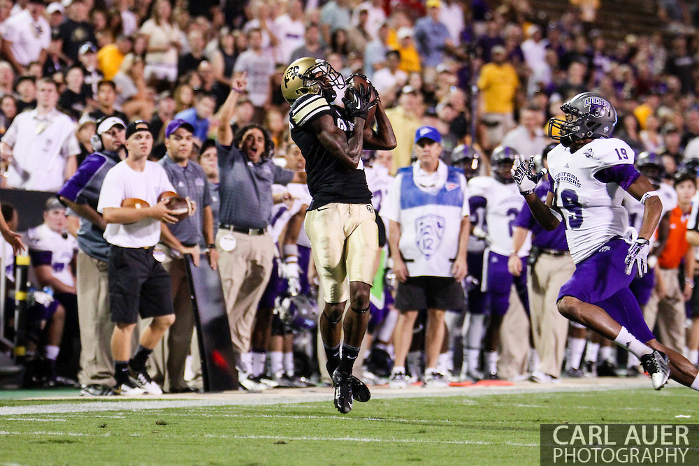September 7th, 2013 - Colorado Buffaloes junior wide receiver Paul Richardson (6) catches a pass in the third quarter of action in the NCAA football game between the University of Central Arkansas Bears and the University of Colorado Buffaloes at Folsom Field in Boulder, CO