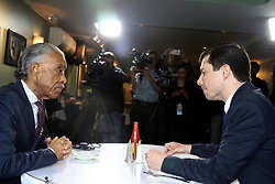 April 29, 2019 - New York City, New York, US - Rev. Al Sharpton hosted Mayor Pete Buttigieg  for.lunch at Sylvia's, the historic Harlem establishment on 29 April, 2019, the venue where Rev. Sharpton has hosted several candidates at over the years. Immediately following the lunch, Rev. Sharpton and Mayor Buttigieg held a media conference outside the restaurant. (Credit Image: © G. Ronald Lopez/ZUMA Wire)