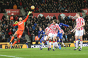Stoke City goalkeeper Jack Butland (1) tips the ball away during the Premier League match between Stoke City and Everton at the Bet365 Stadium, Stoke-on-Trent, England on 1 February 2017. Photo by John Potts.