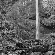 Latourelle Falls And Lower Stream - Columbia Gorge, Oregon - HDR - Infrared Black & White