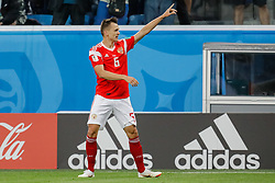 June 19, 2018 - Saint Petersburg, Russia - Denis Cheryshev of Russia national team celebrates his goal during the 2018 FIFA World Cup Russia group A match between Russia and Egypt on June 19, 2018 at Saint Petersburg Stadium in Saint Petersburg, Russia. (Credit Image: © Mike Kireev/NurPhoto via ZUMA Press)
