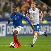 PARIS, FRANCE - March 25:  Blaise Matuidi #14 of France defended by Birkir Bjarnason #8 of Iceland during the France V Iceland, 2020 European Championship Qualifying, Group Stage at  Stade de France on March 25th 2019 in Paris, France (Photo by Tim Clayton/Corbis via Getty Images)
