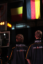 19.08.2011, Stechert Arena, Bamberg, GER, BBL, LS, Supercup 2011, Deutschland (GER) vs Belgien (BEL), im Bild:.Nationalhymne Deutschland, Deutsche Mannschaft Dirk Nowitzki (14, Nationalmannschaft Deutschland), Jan-Hendrik Jagla (15, Nationalmannschaft Deutschland).// during the Match GER, BBL, LS, Supercup 2011, Deutschland (GER) vs Belgien (BEL) on 2011/08/19, Stechert Arena, Bamberg, Germany..EXPA Pictures © 2011, PhotoCredit: EXPA/ nph/  Will       ****** out of GER / CRO  / BEL ******