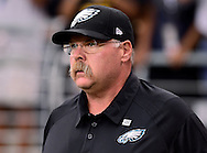 Sept. 23, 2012; Glendale, AZ, USA; Philadelphia Eagles head coach Andy Reid reacts on the field at University of Phoenix Stadium. The Cardinals defeated the Eagles 27 - 6. Mandatory Credit: Jennifer Stewart-US PRESSWIRE.