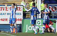 Picture by Paul  Gaythorpe/Focus Images Ltd +447771 871632.08/09/2012.James Poole of Hartlepool United celebrates scoring the first goal against Carlisle United during the npower League 1 match at Victoria Park, Hartlepool.